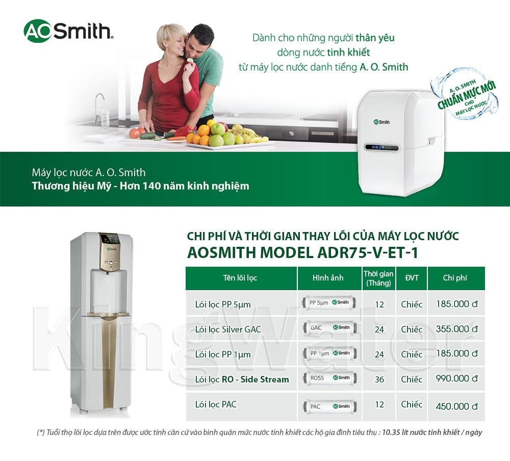 Thời gian, chi phí thay lõi của máy nóng lạnh Aosmith V-ET-1