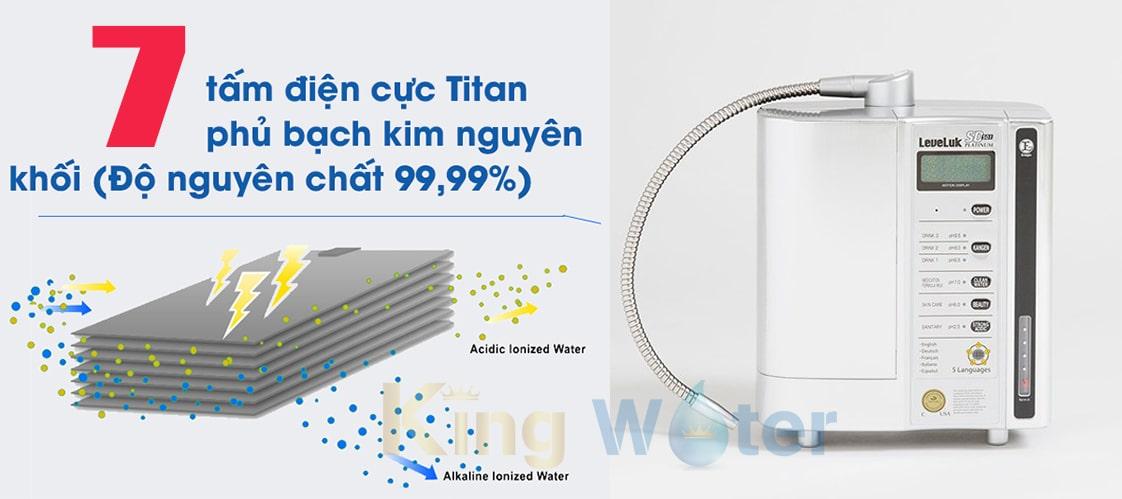 Máy Kangen SD501 Platinum được cấu tạo từ 7 tấm điện cực chất liệu titanium