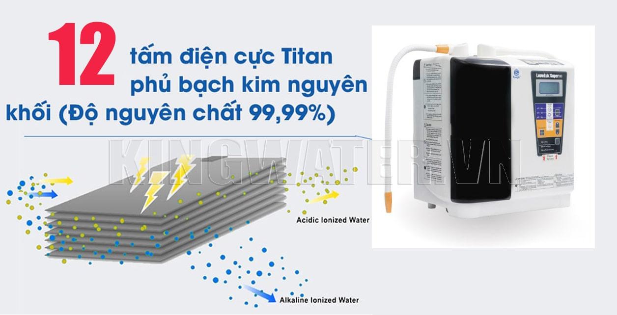 Máy Kangen Super 501 sở hữu bộ điện cực bao gồm 12 tấm điện cực công suất cao