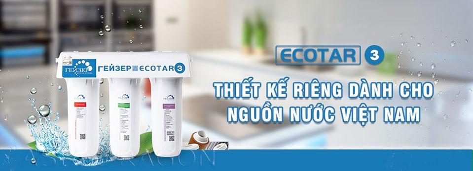 Bộ tiền lọc Geyser Ecotar 3 được đánh giá là phù hợp cho máy lọc nước Kangen model Super 501