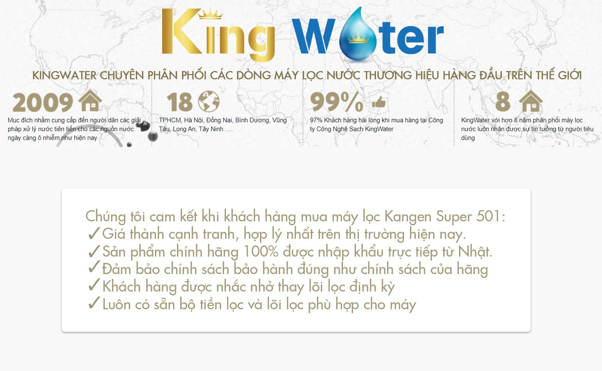 KingWater cam kết khi khách hàng mua máy lọc Kangen Super 501