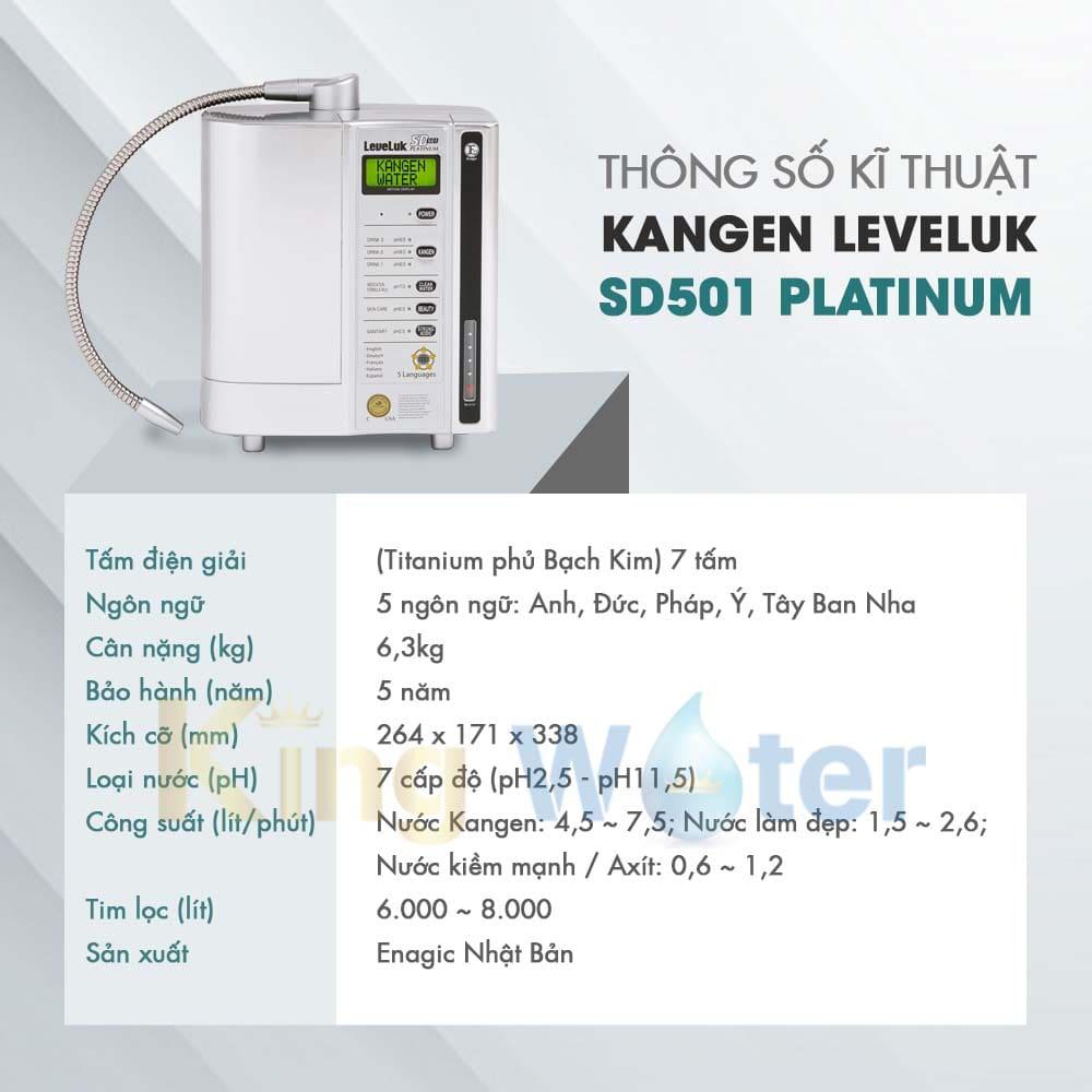 Thông số kĩ thuật máy lọc nước điện giải Kangen Leveluk SD501 Platinum