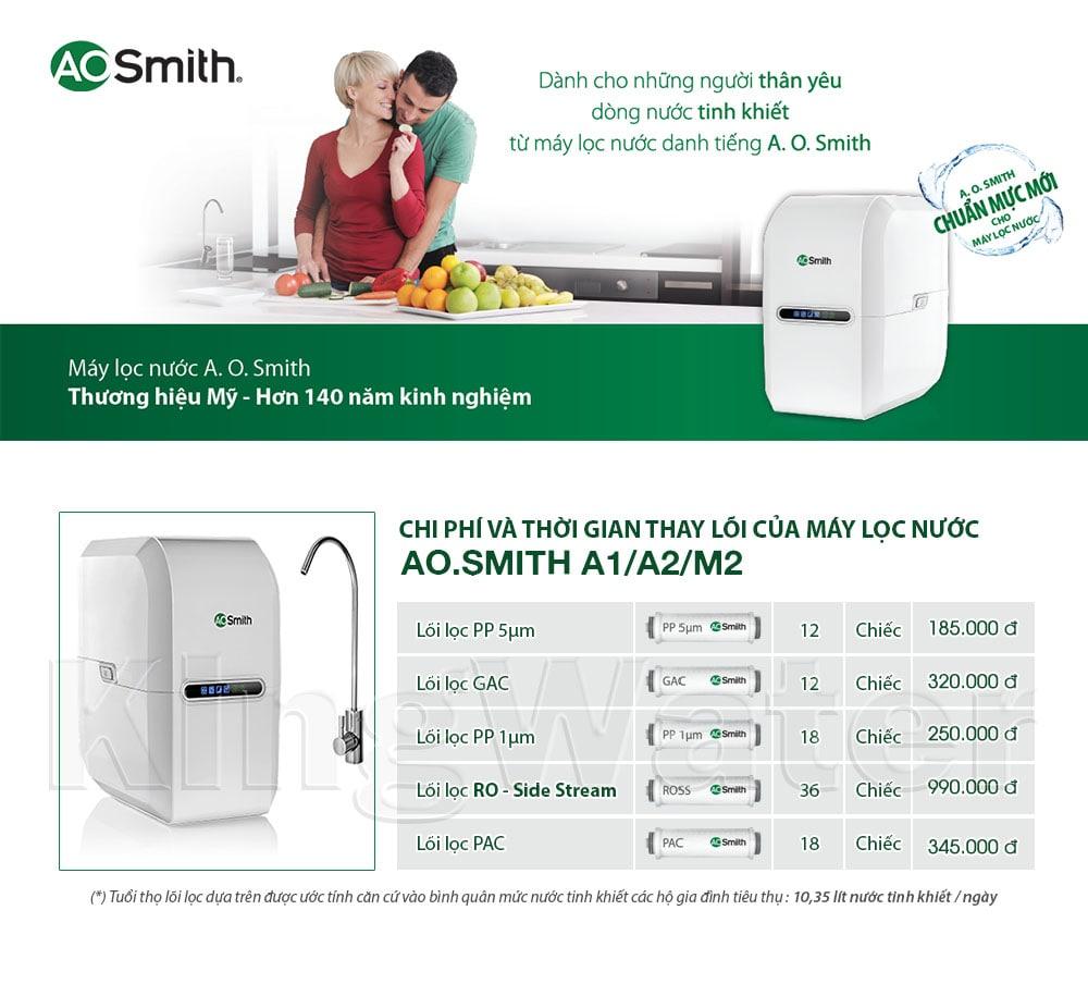 Thời gian và chi phí thay lõi máy lọc Aosmith A1