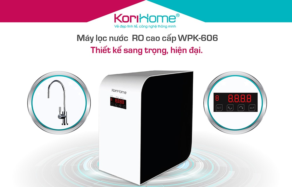 Máy lọc cao cấp Korihome WPK-606 có thiết kế cực kì nhỏ gọn đẹp mắt