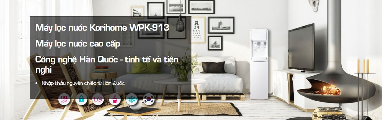 Máy Korihome WPK-913 thể hiện đầy đủ phong cách thiết kế Hàn Quốc sang trọng