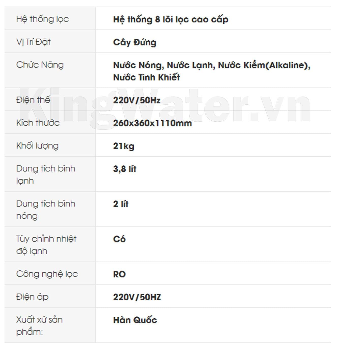Thông số kỹ thuật của máy lọc nước Korihome WPK-913