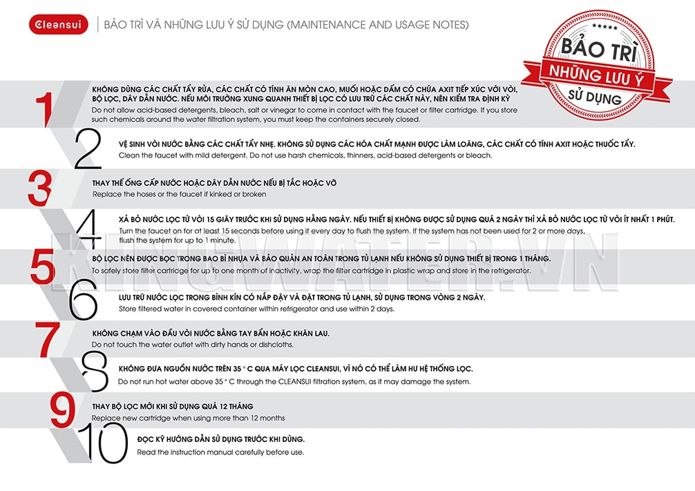 Một số lưu ý quan trọng để sử dụng máy lọc nước Cleansui EU202