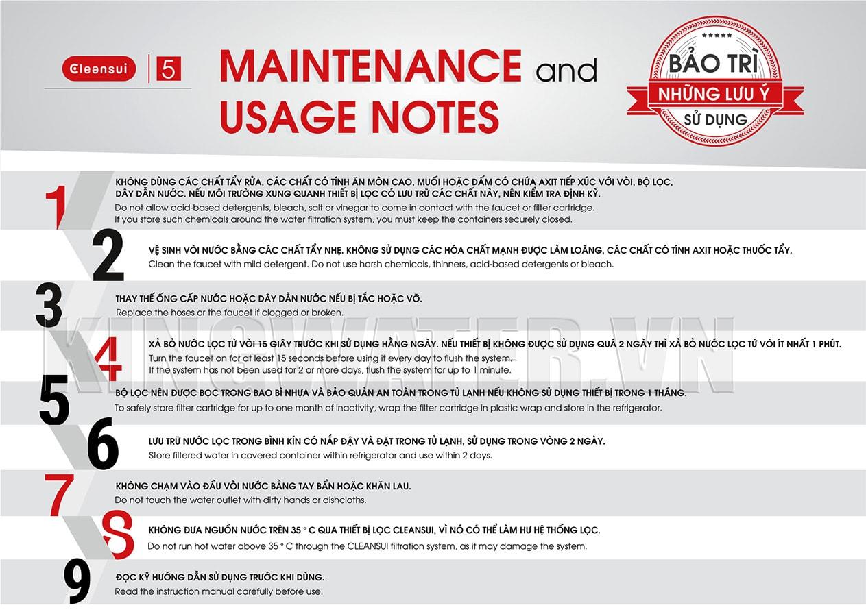 Những lưu ý khi sử dụng máy lọc Mitshubishi Cleansui MP02-3