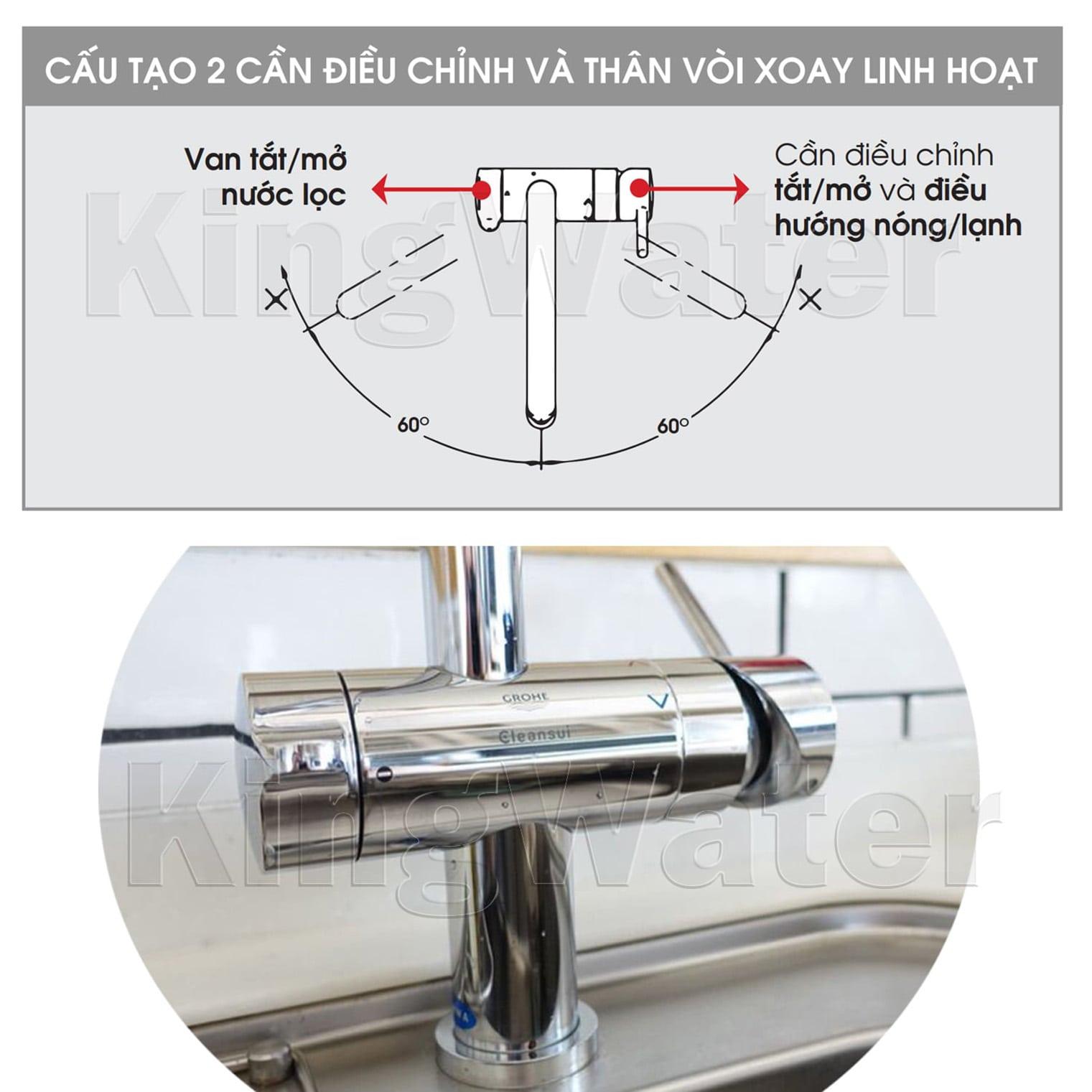 Vòi nước của máy EU201 với thiết kế có thể tháo ra và xoay 120 độ