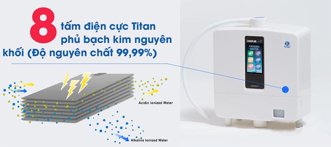Bộ điện cực trong máy lọc nước Kangen K8 bao gồm 8 tấm điện cực công suất cao