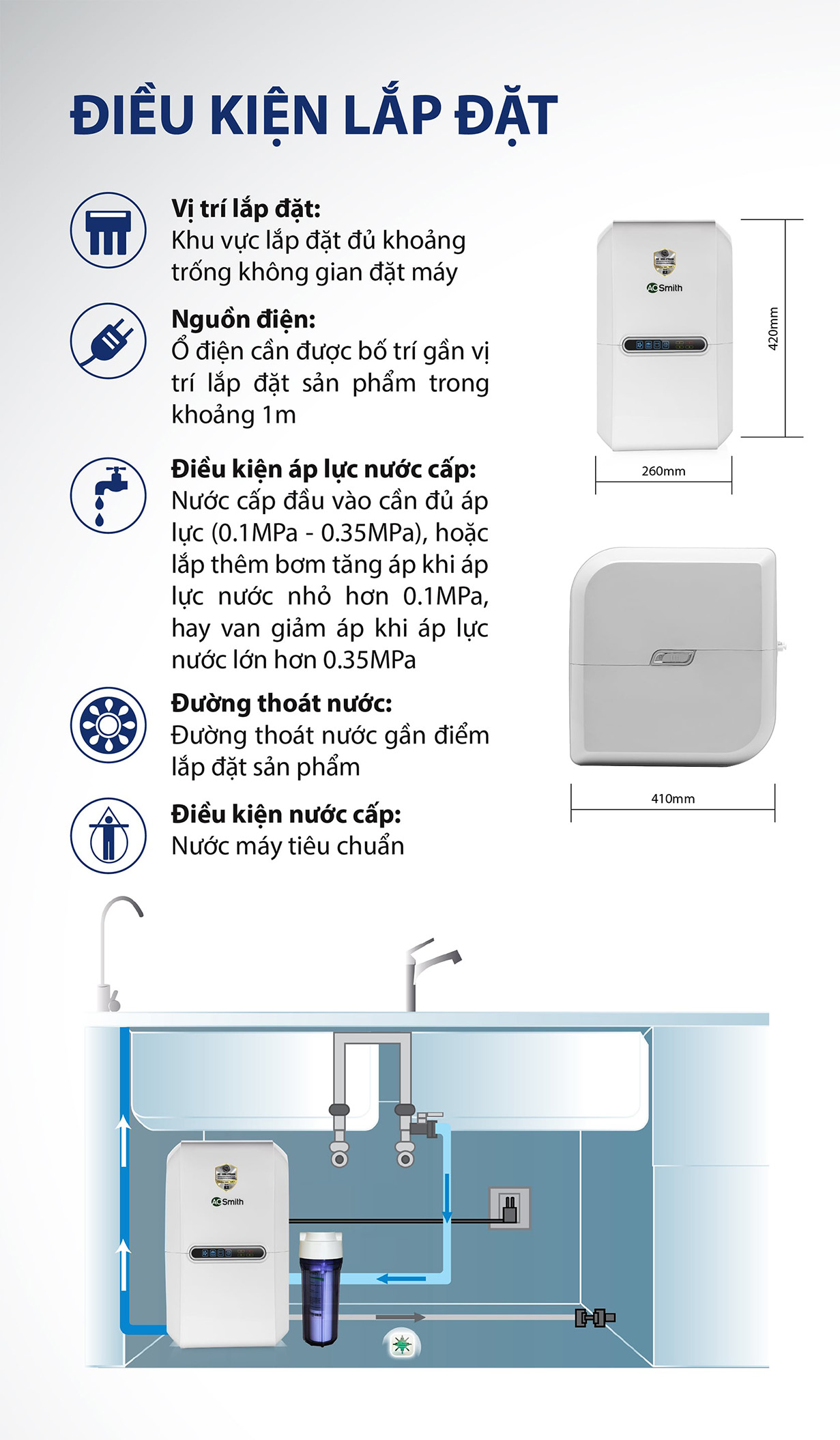 Điều kiện lắp đặt dòng máy lọc nước Aosmith E2
