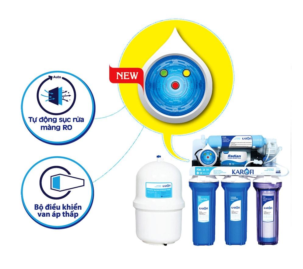 Máy lọc nước Karofi SRO giá rẻ có bộ vi điều khiển thông minh