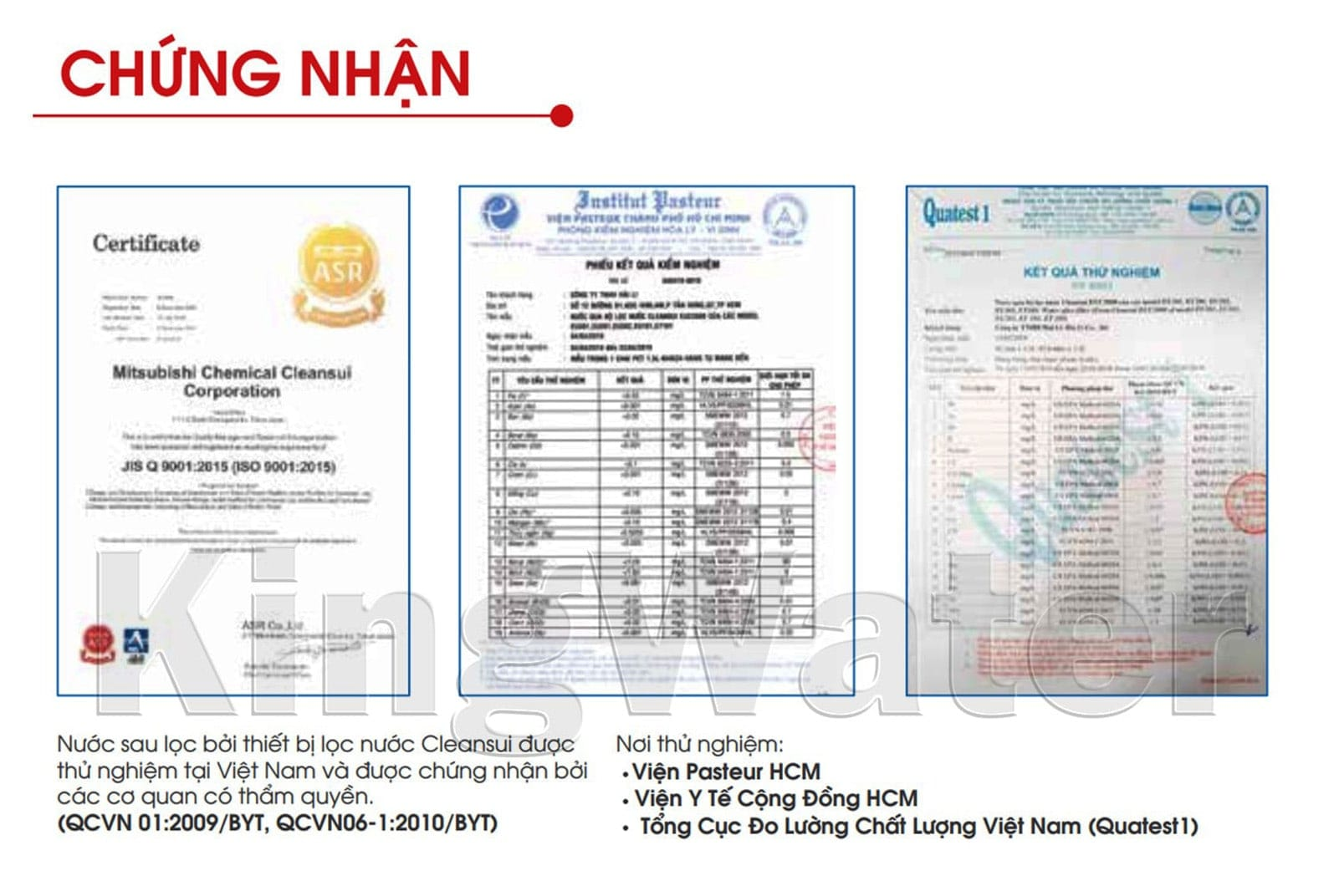 Máy lọc nước Cleansui ET101 còn được cấp chứng nhận đạt chuẩn quốc gia về nước sạch tại Việt Nam