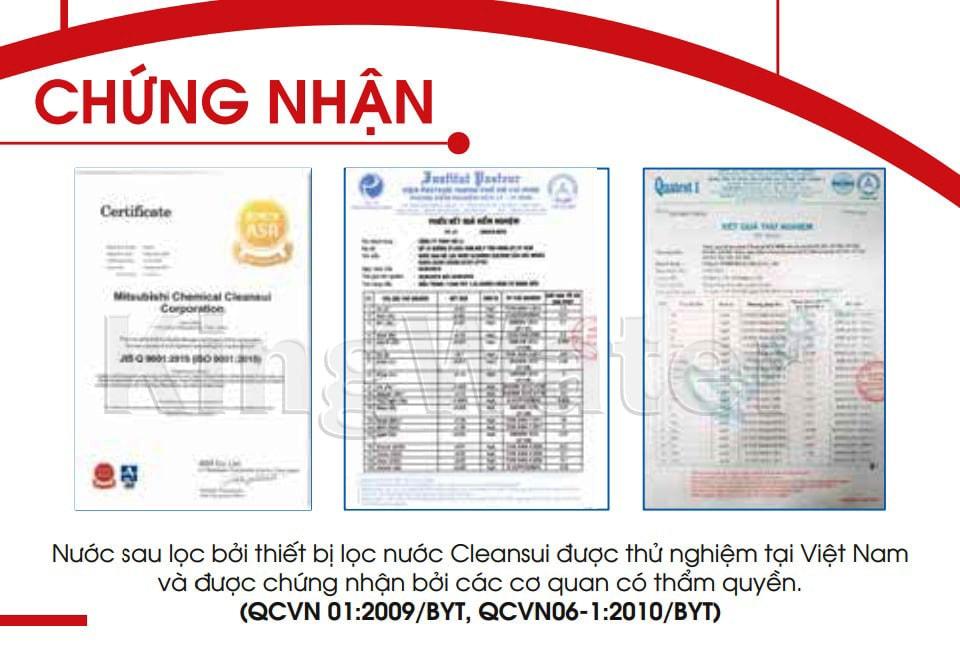 Sản phẩm Mitshubishi Cleansui EU101 đạt tiêu chuẩn kiểm định quốc tế