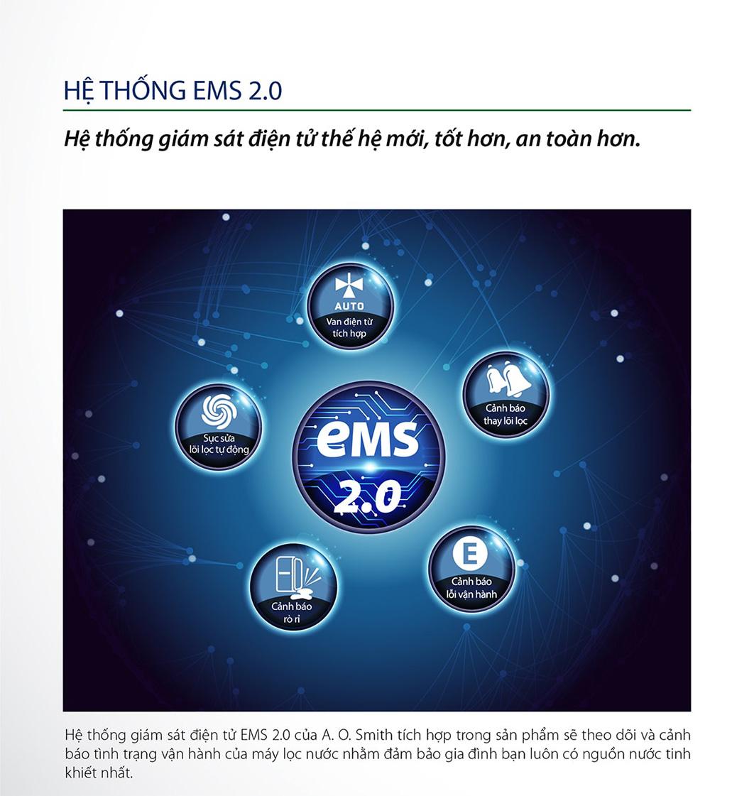Dòng Ao Smith E2 được trang bị hệ thống EMS 2.0