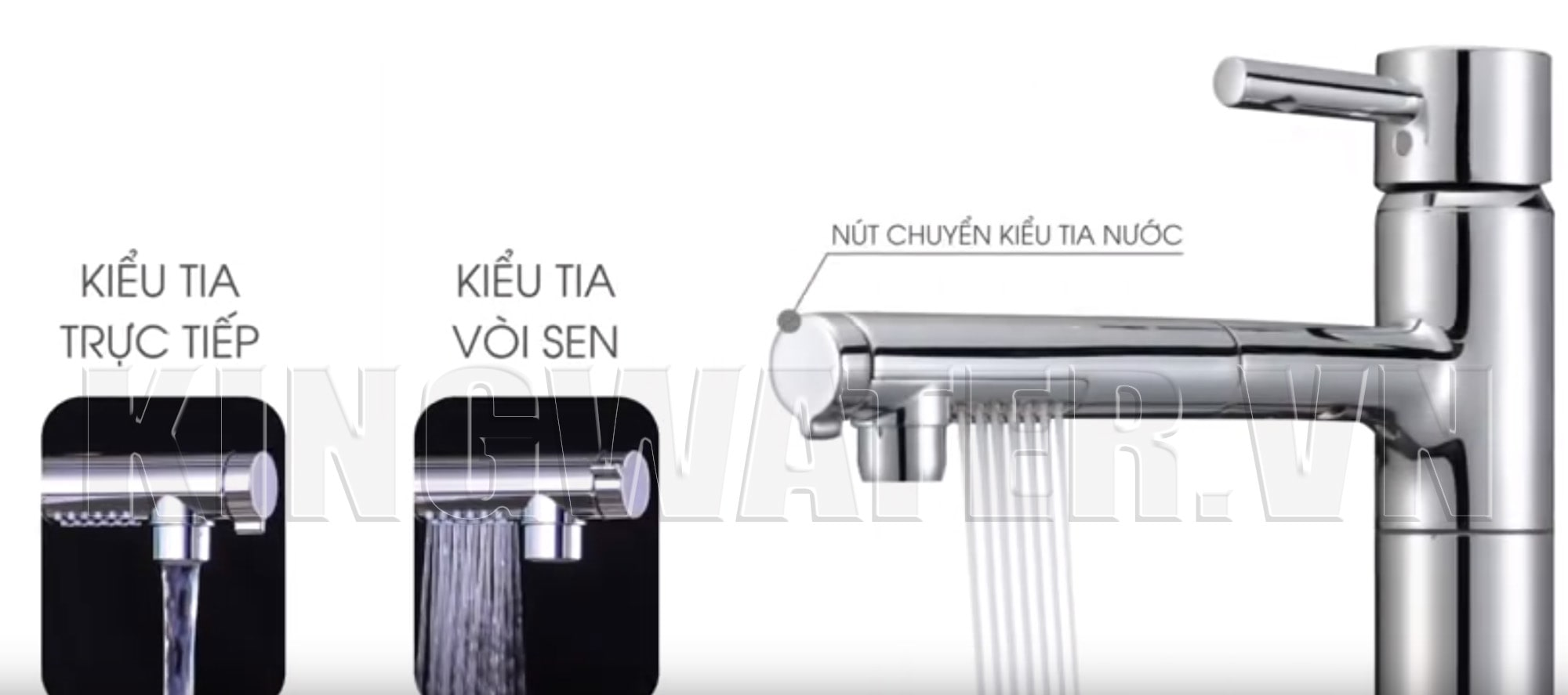 Vòi nước của máy lọc nước Cleansui EU202 tích hợp hai kiểu xả nước