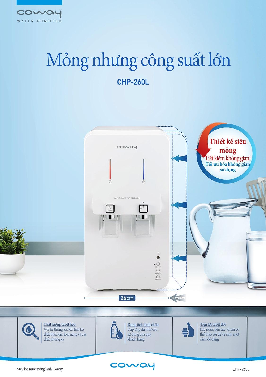 Máy lọc nước nóng lạnh Coway đều được nhập khẩu nguyên chiếc từ Hàn Quốc