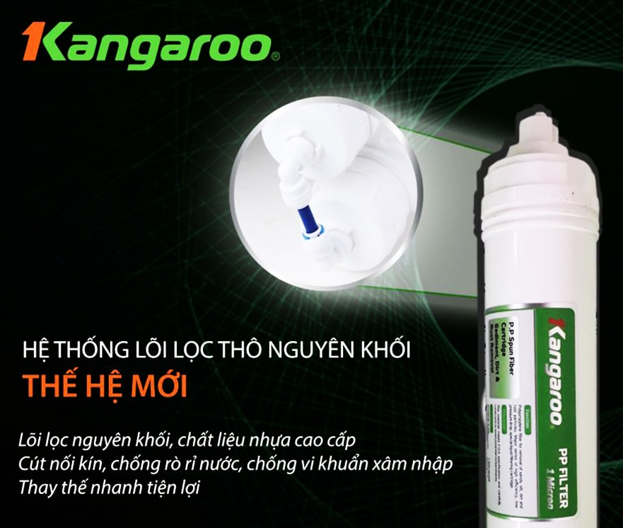 Kangaroo KG100HK VTU với lõi lọc thô được thiết kế nguyên khối hiện đại