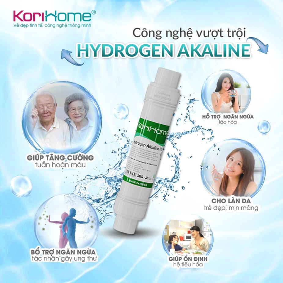 Máy Korihome K-PRO WPK-G61 còn được tích hợp công nghệ lọc tiên tiến Hydrogen Alkaline