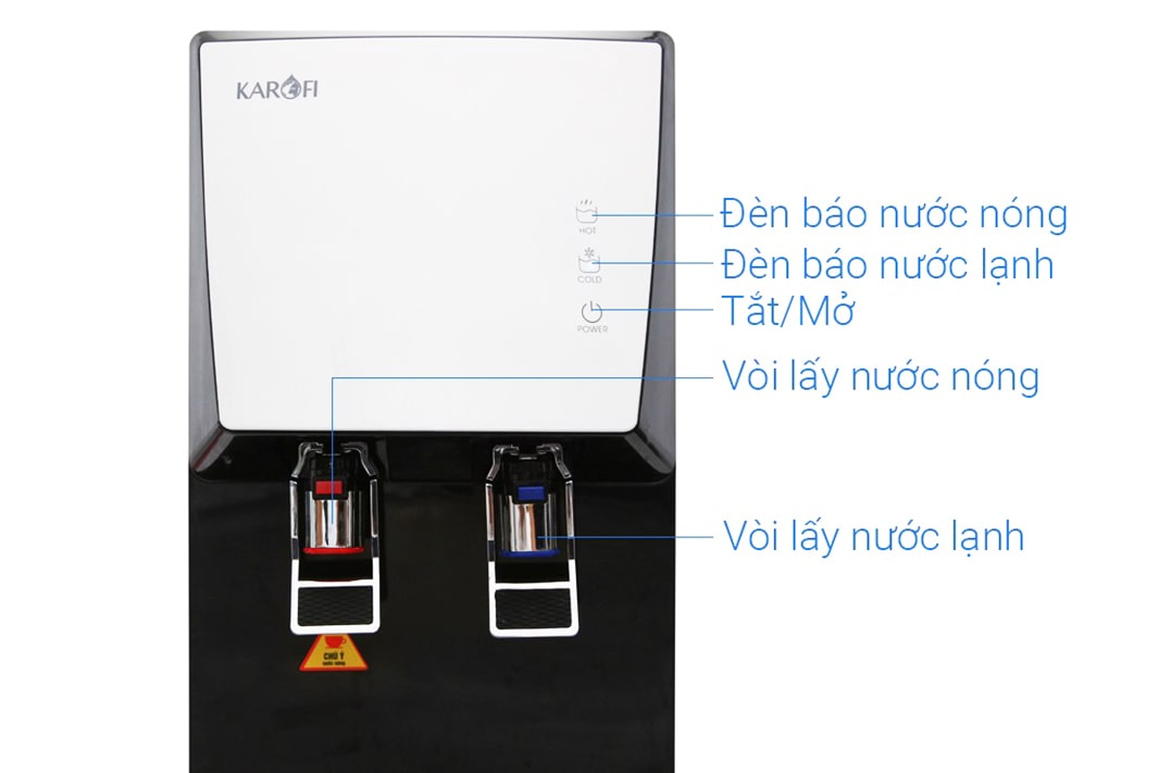 Máy lọc nước Karofi HCV351-WH được thiết kế hợp lý từ vòi nước đến khay đựng