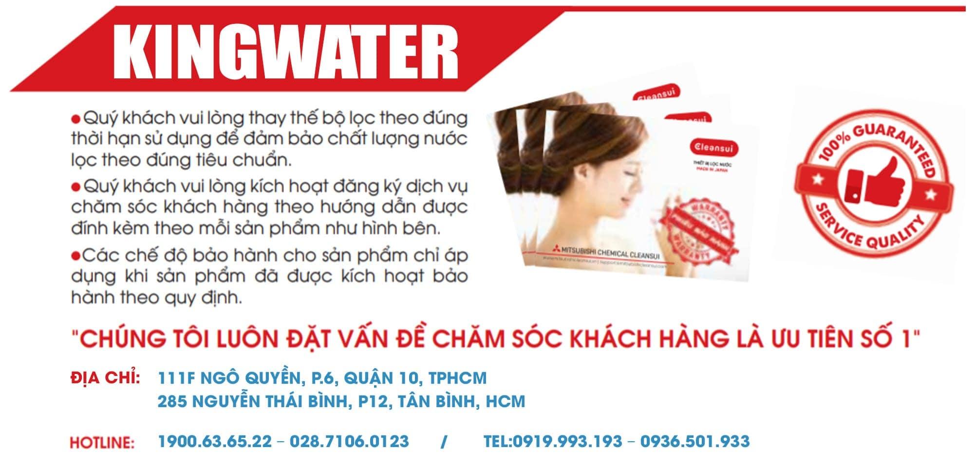 KingWater là địa chỉ tin cậy uy tín với hơn 8 năm kinh nghiệm phân phối máy lọc Cleansui