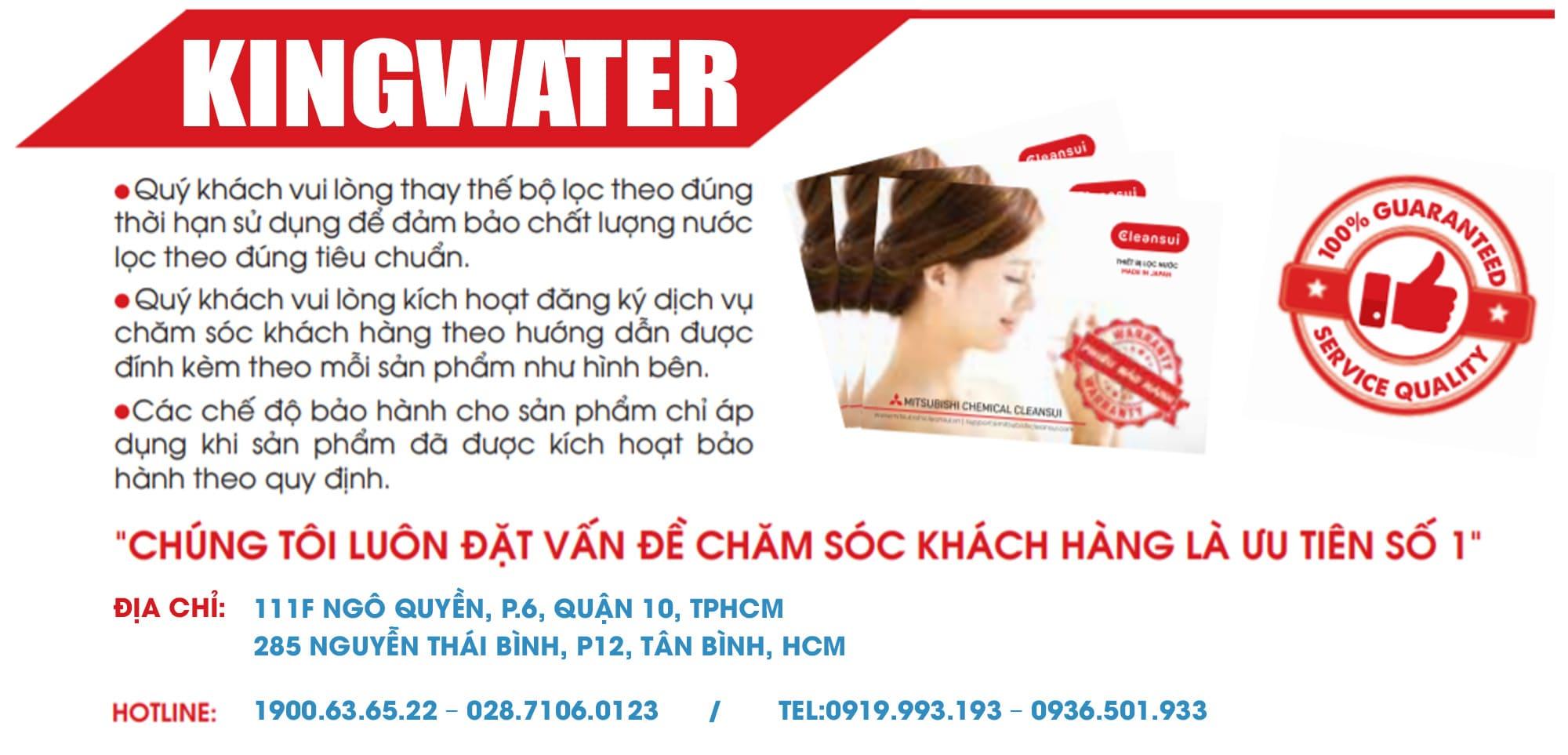 Hiện nay KingWater là công ty phân phối máy lọc Cleansui chính hãng