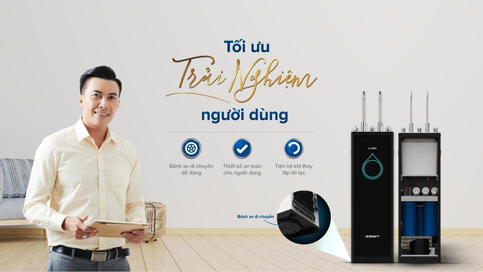 Optimus Duo chính là chiếc máy lọc nước 2 vòi nóng lạnh Karofi được ưa chuộng hiện nay