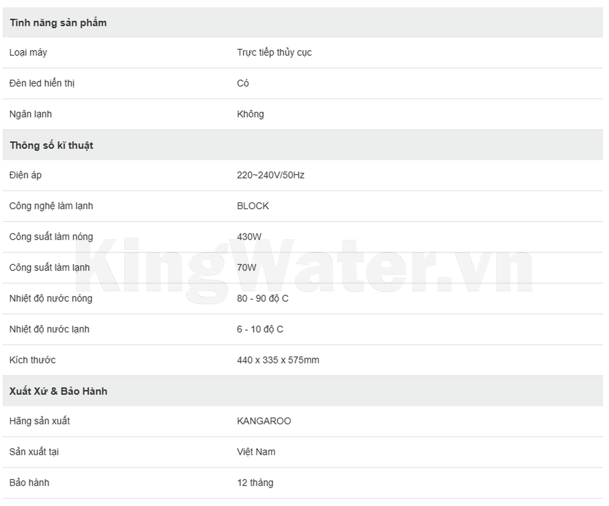 Thông số kỹ thuật của dòng máy lọc nước Kangaroo KG100HK