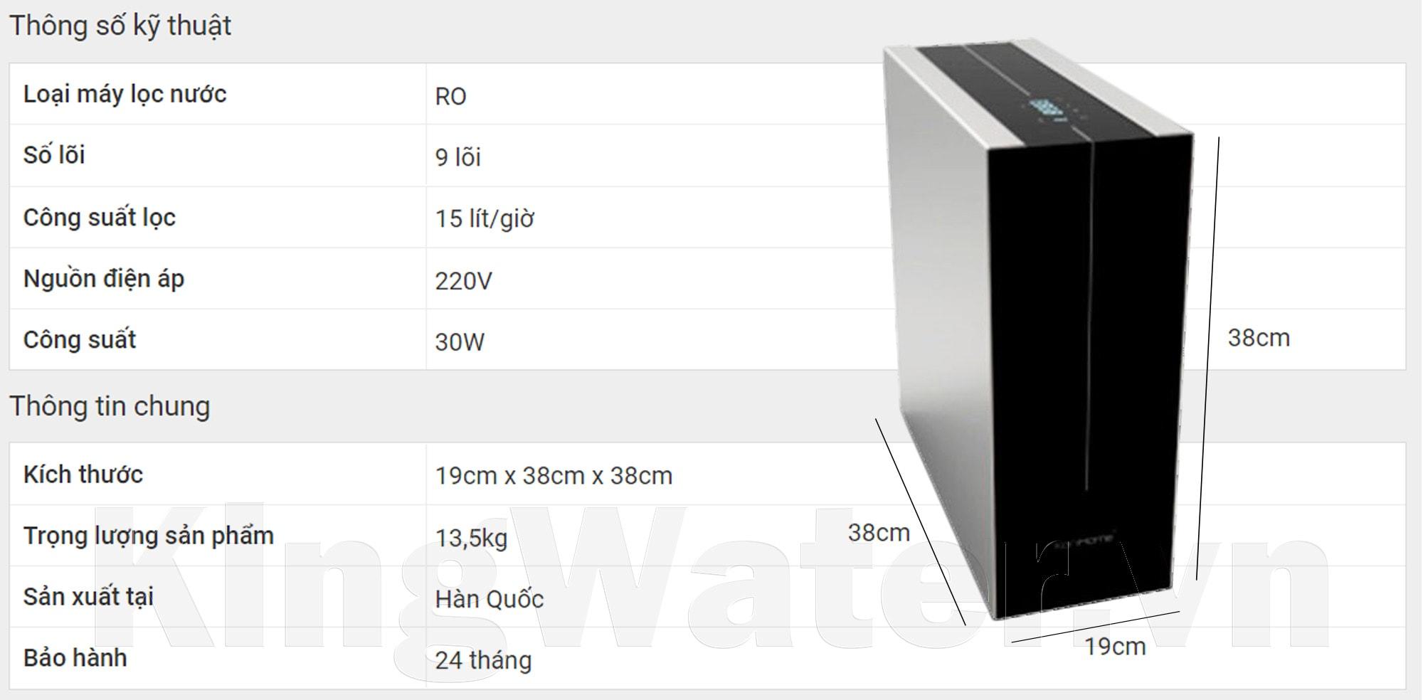 Thông số kỹ thuật của máy lọc nước Korihome WPK-K91