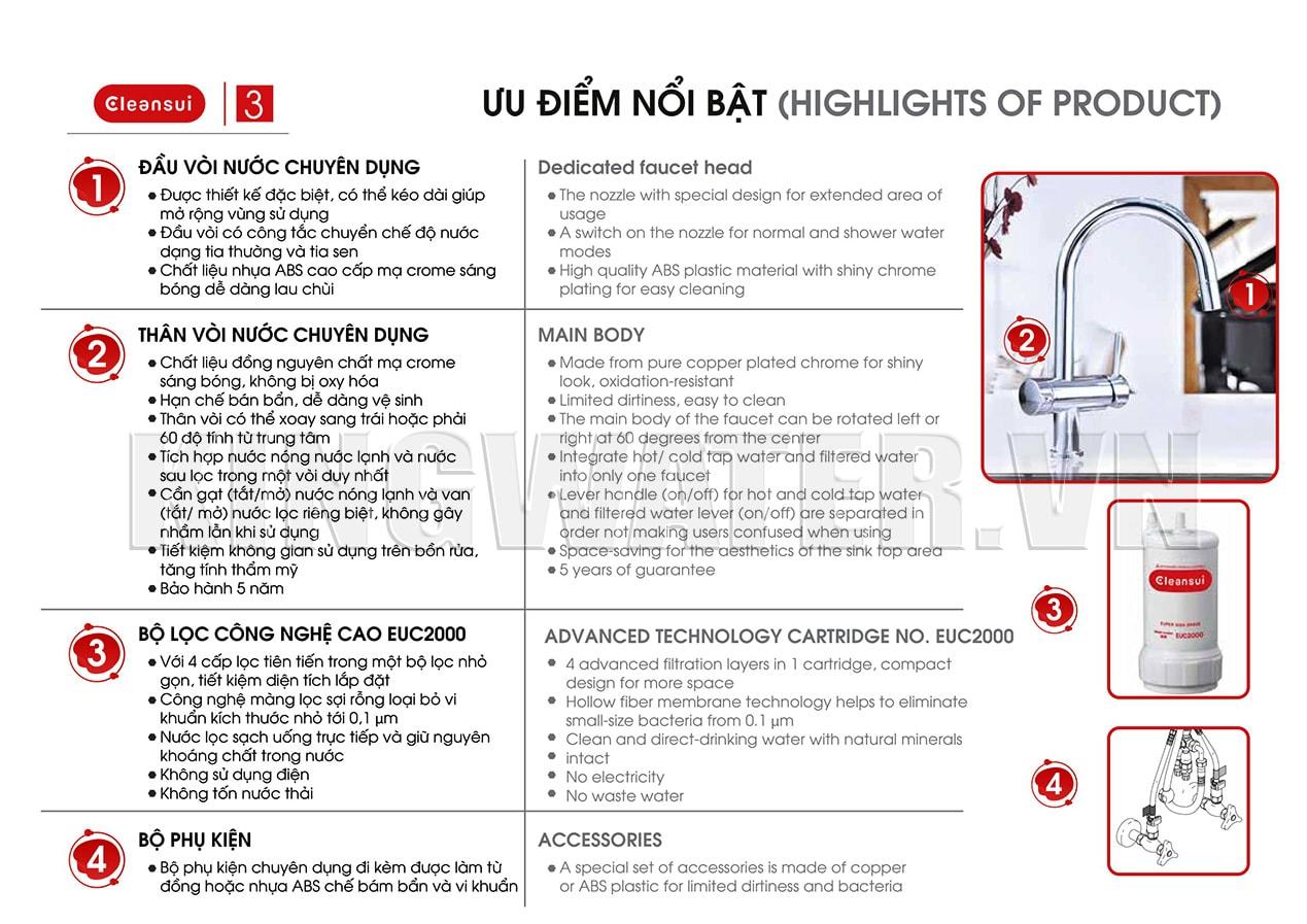 Máy Cleansui EU201 có thiết kế an toàn khi sử dụng