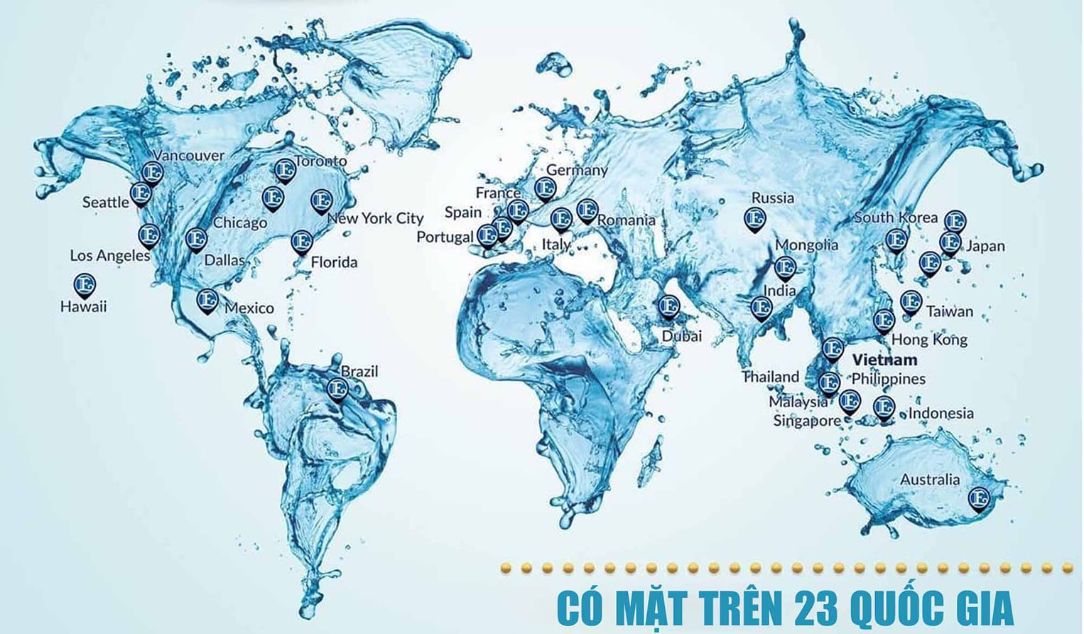 Máy lọc nước Kangen của Enagic đã có mặt trên nhiều quốc gia