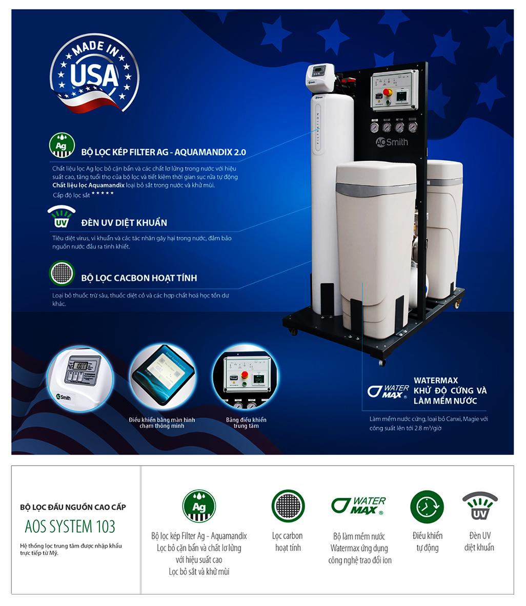 Lọc đầu nguồn Ao Smith System 103 là một chiếc máy thông minh vượt trội